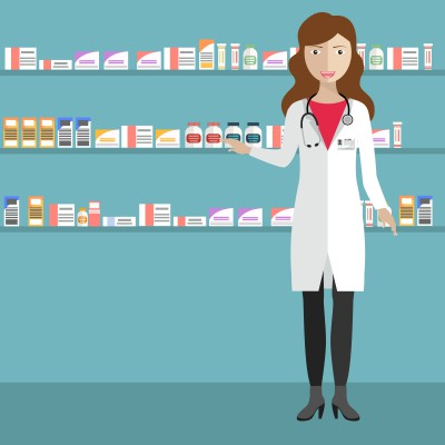women doctor in Pharmacy store background